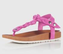 Geflochtene Zehentrennersandale aus Leder pink