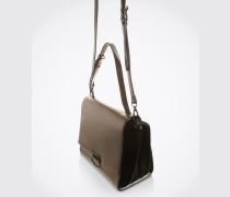 Handtasche in Metallic-Optik grau