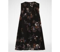 Sommerkleid mit floralem Print schwarz