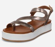 Sandale in Metallic-Optik gold/grau