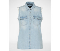Ärmellose Denim-Bluse 'Loria' blau
