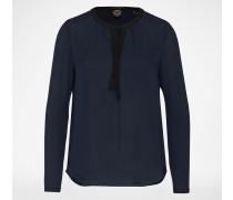 Bluse mit Schleife am Ausschnitt blau