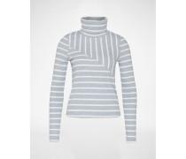 Rollkragenshirt 'Alcina' grau/weiß