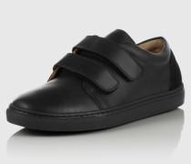 Ledersneaker mit Klettverschluss 'Velcro' schwarz