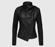 Kurzjacke aus Leder 'Valentine' schwarz