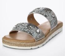 Pantoletten 'Klaim', Metallic-Look silber