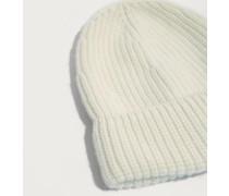 Cashmere Beanie 'Nuria' beige/weiß