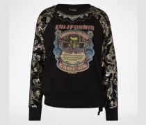 Pullover mit Print und Pailletten schwarz
