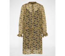 Blusen-Kleid mit Muster beige