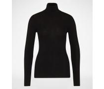 Rollkragenpullover aus Wolle in Rippoptik schwarz
