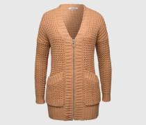 Baumwollmix-Jacke mit Zipper 'Frayda' beige/braun