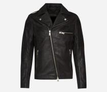 Lederjacke mit asymmetrischem Zipper 'Crooks' schwarz