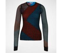 Shirt mit Lochmuster 'Intarsia' mehrfarbig