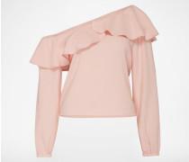 One-Shoulder Bluse mit Volant pink