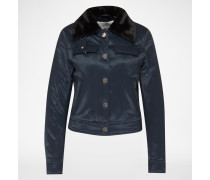 Jacke mit Fake Fur Kragen 'Plot' blau