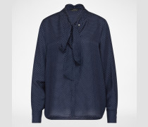 Bluse mit Seidenanteil blau