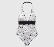Badeanzug mit Schleife 'Bnala 503 Nageur' weiß/schwarz