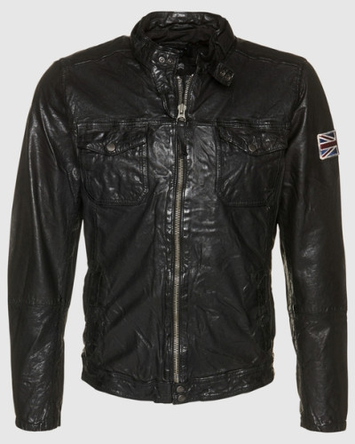 pepe jeans herren lederjacke 39 guzzi 39 schwarz reduziert. Black Bedroom Furniture Sets. Home Design Ideas