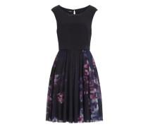 Romantisches Kleid mit toller Materialkombination blau / violettblau / schwarz