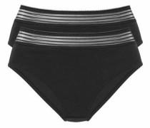 Bodyforming-Midislips (2 Stück) mit Spitzenbund schwarz