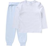 Baby Schlafanzug für Jungen aus Organic Cotton hellblau / weiß / naturweiß