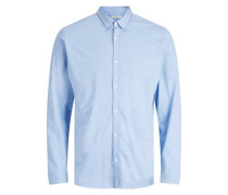 Button-under-Langarmhemd blau