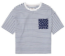 Bluse 'thdw CN T-Shirt S/S 42' blau / naturweiß