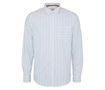 Casual Hemd 'vertikal stripe' rauchblau / weiß