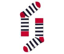 Socke 'stripe' rot / schwarz / weiß