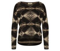 Pullover mit Ethnomuster beige / schwarz