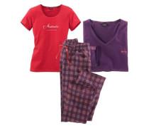 Dreiteiliges Pyjamaset lila / rot
