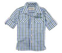 Trachtenhemd Kinder kariert mit Schriftzug blau / grün / weiß