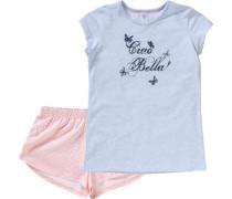Schlafanzug ultramarinblau / hellblau / rosa