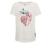 T-shirt mit Paillettenbesatz weiß