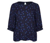 Bedruckte Viskose-Bluse mit 3/4 Ärmeln blau / nachtblau