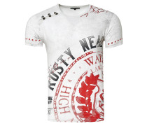 Cooles T-Shirt mit großem Print weiß