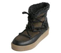 Winter Leder Stiefel oliv / schwarz