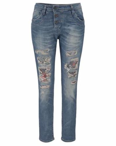 Destroyed-Jeans blue denim