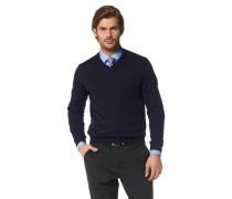 V-Ausschnitt-Pullover blau