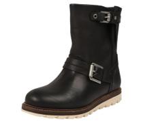 Klassische Leder-Stiefelette schwarz