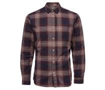 Slim-Fit-Langarmhemd dunkelbeige / marine / braun