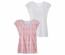 Shirts (2 Stück) dunkelpink / naturweiß