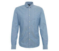 Hemd 'Classic oxford shirt in solids or with all-over print' himmelblau