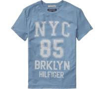 kurzärmeliges T-Shirt »Brooklyn CN TEE S/s« rauchblau / weiß