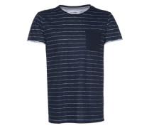 T-Shirt gestreift mit Brusttasche nachtblau