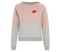 Pullover mit Herzstickerei grau / rosé