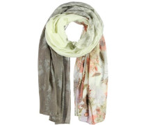 Polyester-Baumwoll-Schal hellgelb / taupe / apricot