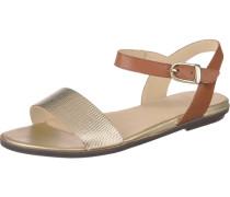 Sandale mit Reptil-Prägung kastanienbraun / gold
