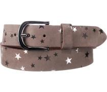 Gürtel mit Metallic-Sternen taupe