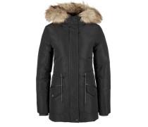 Winterjacke mit Fake Fur schwarz